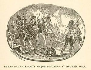 Racial segregation in the United States Armed Forces - Peter Salem shoots Major Pitcairn at Bunker Hill.