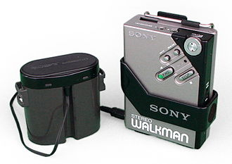 Walkman - Sony Walkman WM-2, the best-selling model, with plastic battery case and belt clip (1981)