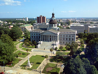 Columbia, South Carolina - South Carolina State House (completed 1907) from the 15th floor of the Main and Gervais Tower