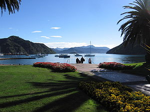 Picton, New Zealand - Picton, a park at the coast.