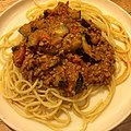 Spaghetti with turkey bolognese and grilled zucchini グリルしたズッキーニ入りターキーボロネーゼのスパゲティ.jpg
