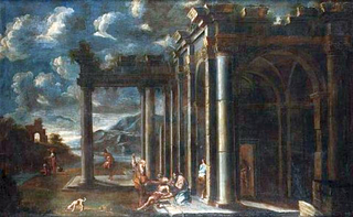 An architectural capriccio with Christ giving the keys to Peter