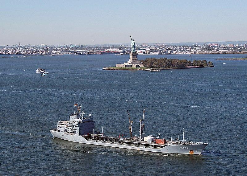 File:Spessart (A 1442) entering New York Harbor.jpg