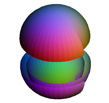 Illustration of how a 2-sphere can be wrapped twice around another 2-sphere. Edges should be identified. Sphere wrapped round itself.png