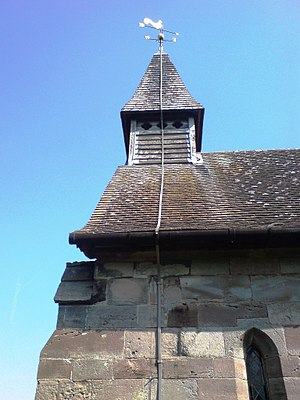 Coppenhall - The spired bell tower and cockerel wind vane of Coppenhall church, May 2008