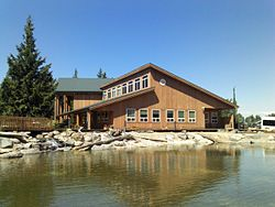 South view of the Squaxin Island Administration Building in fron of the Reflecting Pond.