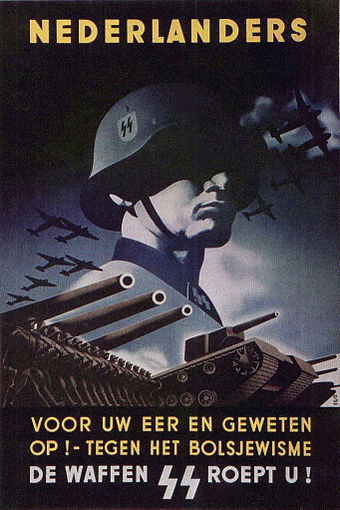 "SS Recruiting Poster for the Netherlands, urging Dutch people to ""join the fight against Bolshevism"" Ssnederland.jpg"