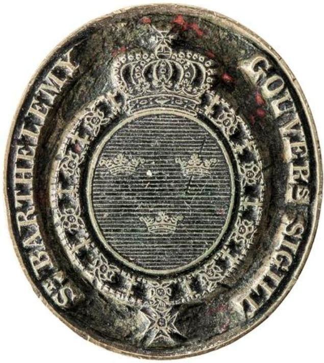 Stämpel för guvernör över den svenska kolonin S-t Barthélemy, Västindien, 1784-1877 - Livrustkammaren - 102551
