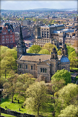 St Cuthbert's Church, Edinburgh - A view of St. Cuthbert's from the Northwest wall of Edinburgh Castle.