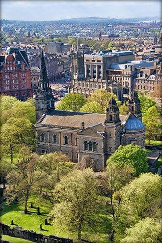 St Cuthbert's Church, Edinburgh - A view of St. Cuthbert's from the Northwest wall of Edinburgh Castle.