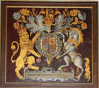 Royal coat of arms of the United Kingdom - The Royal Arms as used by the House of Stuart (these being of William III and Mary II (1688-1694/1702))