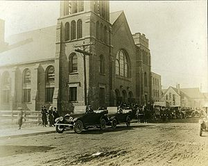 Highland Arts Theatre - St Andrews ca. 1914, funeral featuring a horse-drawn hearse.