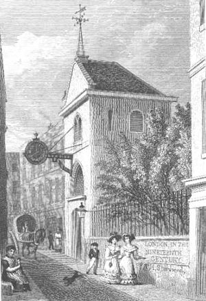 St Clement's, Eastcheap - Martin's Lane, looking north past St Martin Orgar church, 1831, engraved by Thomas Hosmer Shepherd (1793–1864)