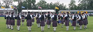St. Thomas' Episcopal School - St. Thomas' Episcopal School Pipe Band competing at the Bridge of Allan Highland Games in Scotland