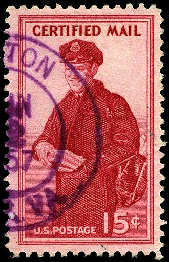 Registered mail - United States 15c certified mail stamp of 1955, postman, Scott catalog FA1. No further stamps were issued in this category.