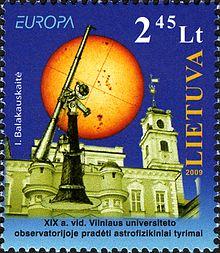 50148e32f5d Leedu 2008. aasta astronoomiale pühendatud Europa postmark: Vilniuse  Ülikooli observatoorium