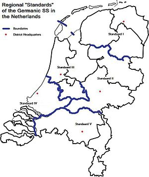 Nederlandsche SS - Regional Districts of the Dutch SS.