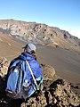 Starr-091207-0157-Pellaea ternifolia-habit with Kim-Split Rock Sliding Sands Trail Haleakala National Park-Maui (24965011676).jpg