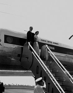 StateLibQld 1 105284 Queen Elizabeth II and Prince Philip boarding the Royal Aeroplane after their Queensland visit in March 1954.jpg