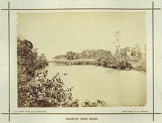 Breakfast Creek - Image: State Lib Qld 1 239501 Bridge across Breakfast Creek, Brisbane