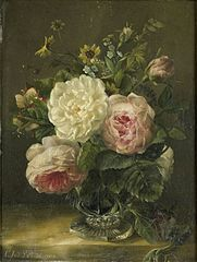 Still-life with flowers in a chrystal vase