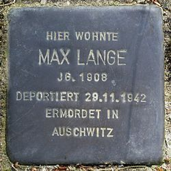 Photo of Max Lange brass plaque