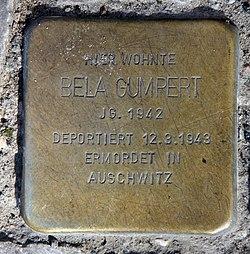 Photo of Bela Gumpert brass plaque
