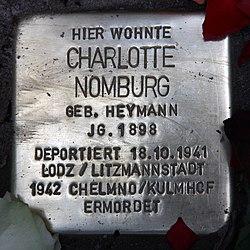 Photo of Charlotte Nomburg brass plaque