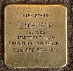 Photo of Erich Tank brass plaque