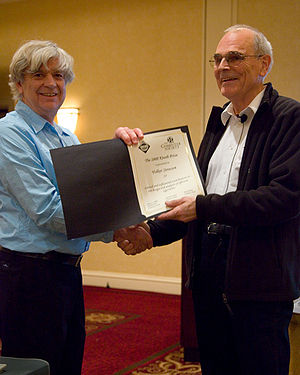 Knuth Prize - Gary Miller presents Volker Strassen with the 2008 Knuth Prize at SODA 2009.