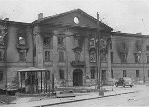 Judenrat - The building of the Jewish Council in Warsaw, burned during the Warsaw Ghetto Uprising