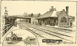Mount Hope station - Mount Hope station in an 1889 advertisement for the Old Colony Railroad