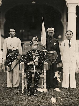 Brunei - Ahmad Tajuddin, the 27th Sultan of Brunei, with members of his court in April 1941, eight months before the Japanese invaded Brunei.