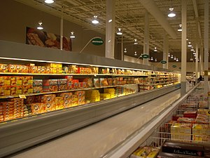 Frozen food - A frozen processed foods aisle at a supermarket in Canada