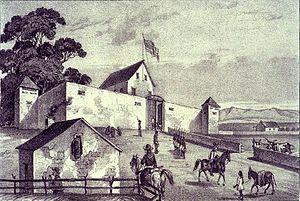 John Sutter - Contemporaneous illustration of Sutter's Fort
