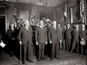 United States Secretary of War - Swearing in of Dwight F. Davis as Secretary of War in 1925. Former Secretaries John W. Weeks and Chief Justice William Howard Taft are standing beside him.