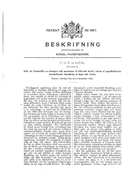 File:Swedish patent 5817 Sätt att framställa en homogen och maximum af lefvande kraft i form af parallelrörelse innehafvande blandning af ånga och vätska.pdf