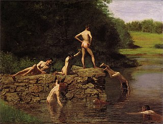 <i>The Swimming Hole</i> Painting by Thomas Eakins of a group of swimmers