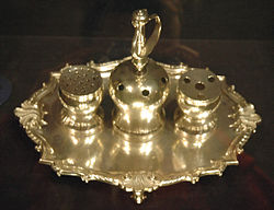 The Declaration of Independence was signed with the Syng inkstand, which is on display at Independence Hall in Philadelphia.