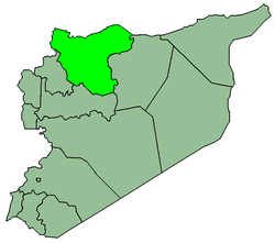 Map of Syria with Alepo highlighted.