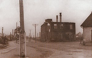 Valga County - Aftermath of World War II. City centre of Tõrva on the year 1944.