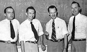 Willis Adcock - TI's silicon transistor team, from left to right, W. Adcock, M. Jones, E. Jackson, and J. Thornhill, 1954