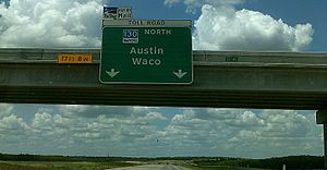 Texas State Highway 130 - SH 130 northbound near Kingsbury, July 2013