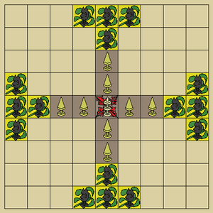 "Tafl games - Tablut starting position: lighter ""Swedes"" start in centre; darker ""Muscovites"" start at the board's edges. Based on Linnaeus' sketches reproduced in Smith (1811)."