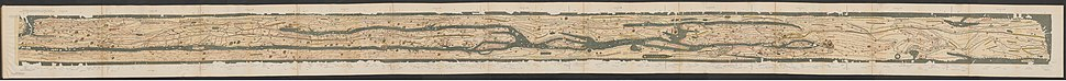 The Tabula Peutingeriana, from the reconstructed British and Iberian panel in the west to India in the east.
