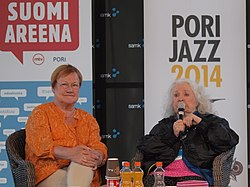 Tarja Halonen and Outi Heiskanen at Pori Jazz 2014 (cropped)