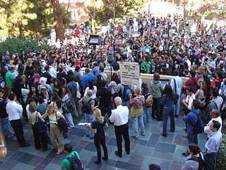 History of the University of California, Los Angeles - Students gather for a news conference on the UCLA Taser incident