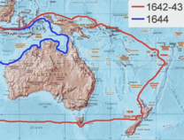 The route of Abel Tasman's first and second voyage