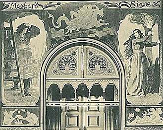 Dagmar Olrik - Drawing by Malthe Engelsted  of one of Olrik's tapestries in Copenhagen City Hall
