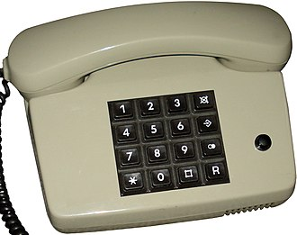 Telephone - Modern telephones use push buttons.
